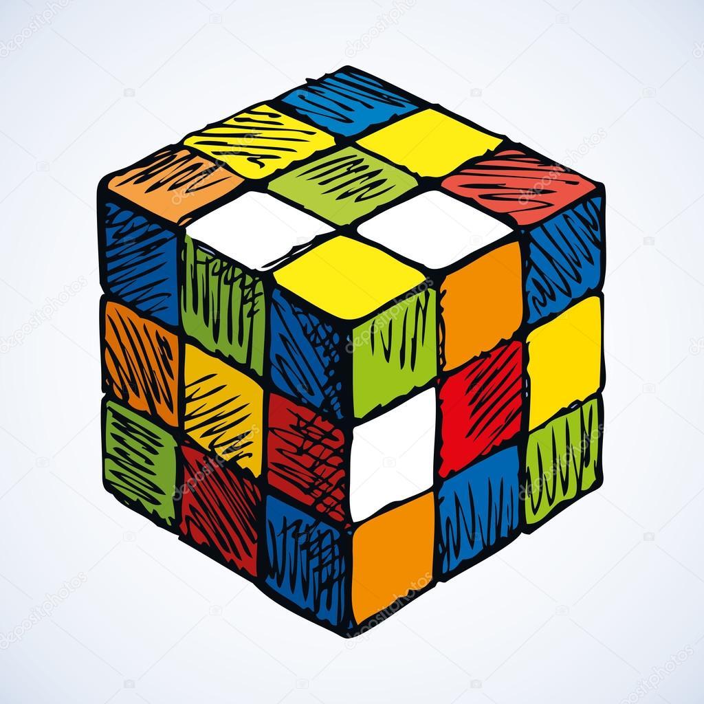 ルービック キューブのアイコンベクター スケッチ ストックベクター