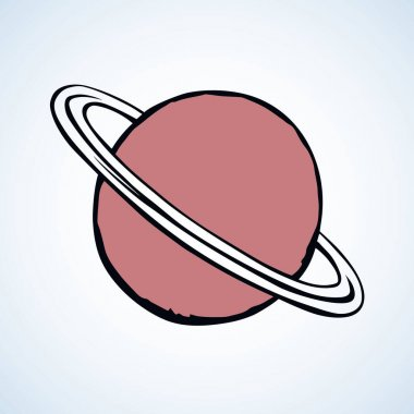 Glob giant duo gas orb ball shape on white sky backdrop. Outline sci-fi ui study cosmo concept. Simple bright red color hand drawn logo emblem sketchy in retro doodle comic engraved style