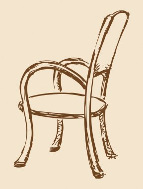 Vector drawing. Wooden chair with armrests