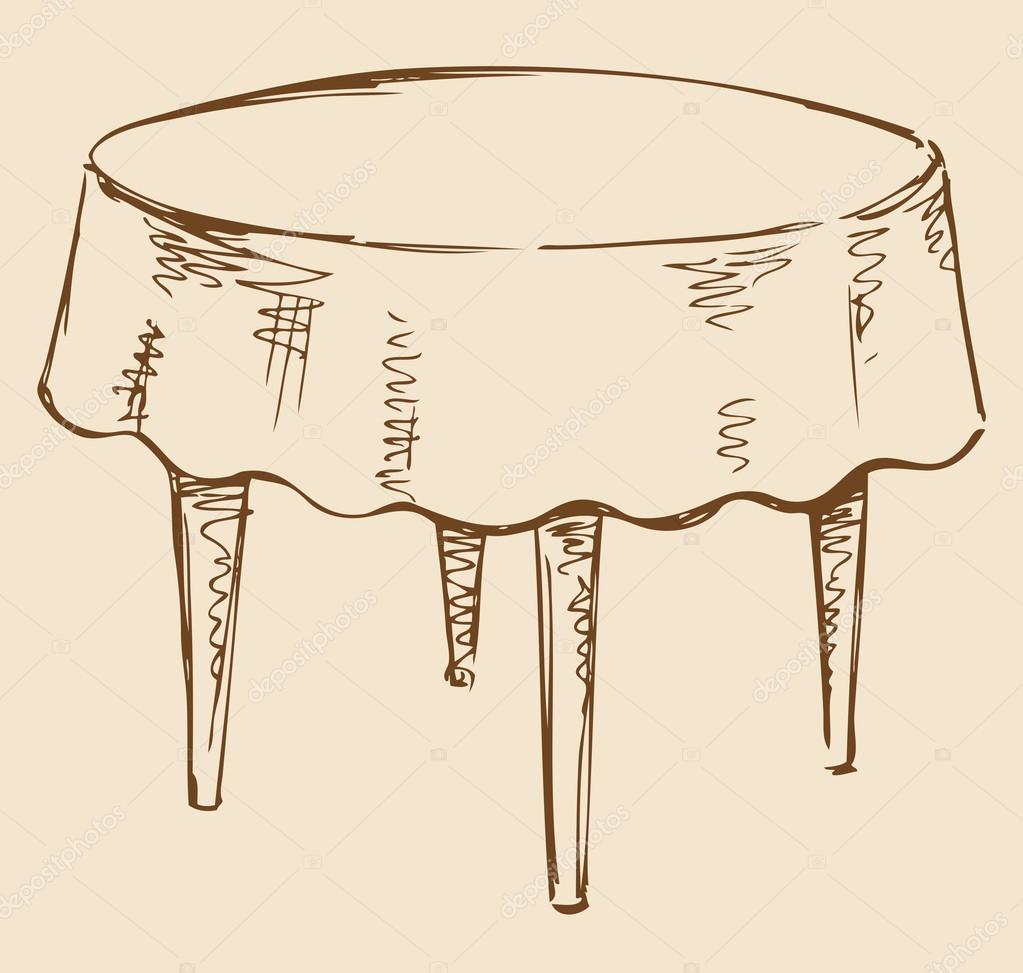 Dessin vectoriel table ronde avec nappe image - Table ronde nappe ...