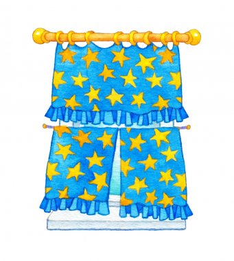 Watercolor illustration. Curtain with yellow stars on the window