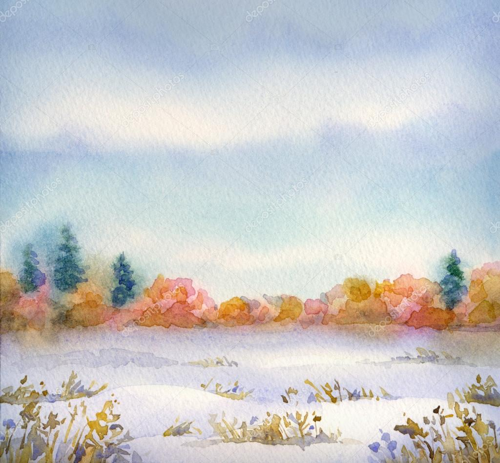 Watercolor landscape of series of