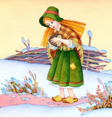 Watercolor picture. Medieval poor girl on winter field