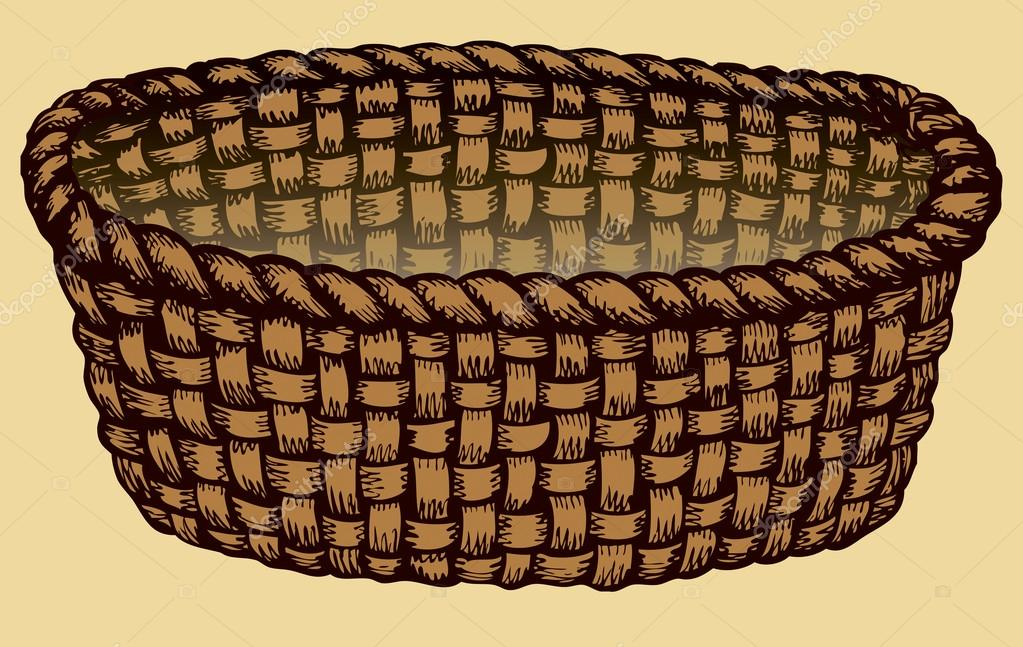 Vector monochrome picture. Empty wicker basket