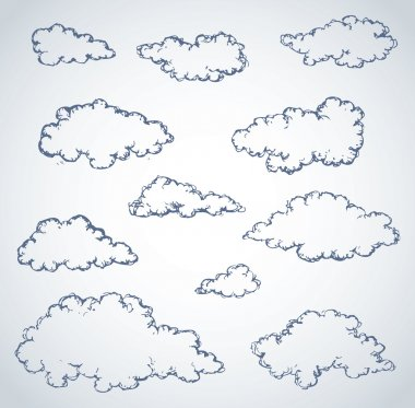 Vector freehand sketch. Clouds