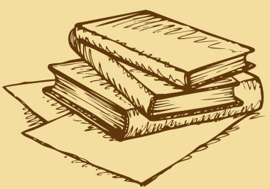 Vector monochrome sketch. Stack of books