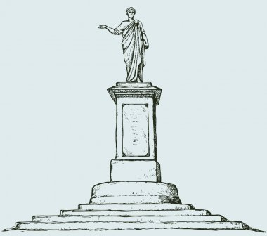Monument to Duke de Richelieu. Odessa, Ukraine. Vector sketch