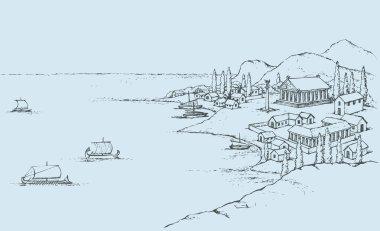 Rocky coast with ancient Greek buildings. Vector sketch