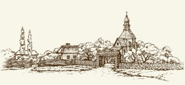 Old Ukrainian village. Vector sketch