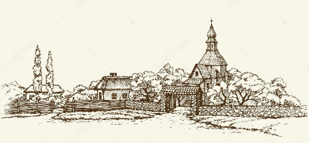 Old Ukrainian village. Vector sketch