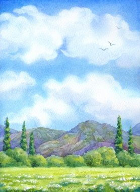 Watercolor landscape. Cloudy sky over valley blossoms