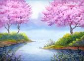 Jarní Akvarel krajiny. Kvetoucí stromy nad jezerem