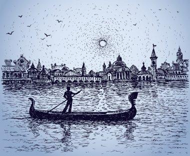 Gondolier floats on gondola. Vector sketch