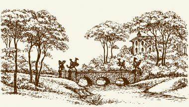 Stone Bridge in old park. Vector drawing