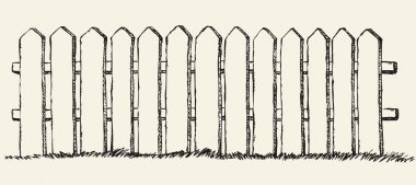 Wooden fence. Vector drawing