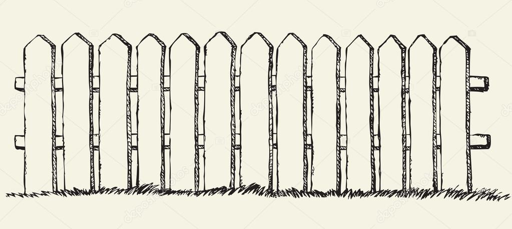picket fence drawing. Wooden Fence. Vector Drawing \u2014 Stock Picket Fence I
