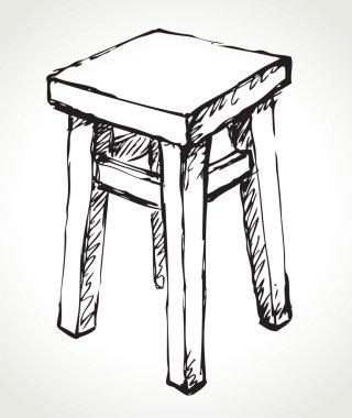 Wooden kitchen stool. Vector sketch