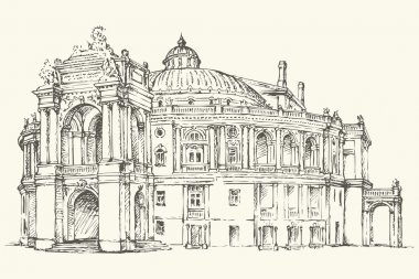 Odessa Theatre of Opera and Ballet, Ukraine. Vector sketch