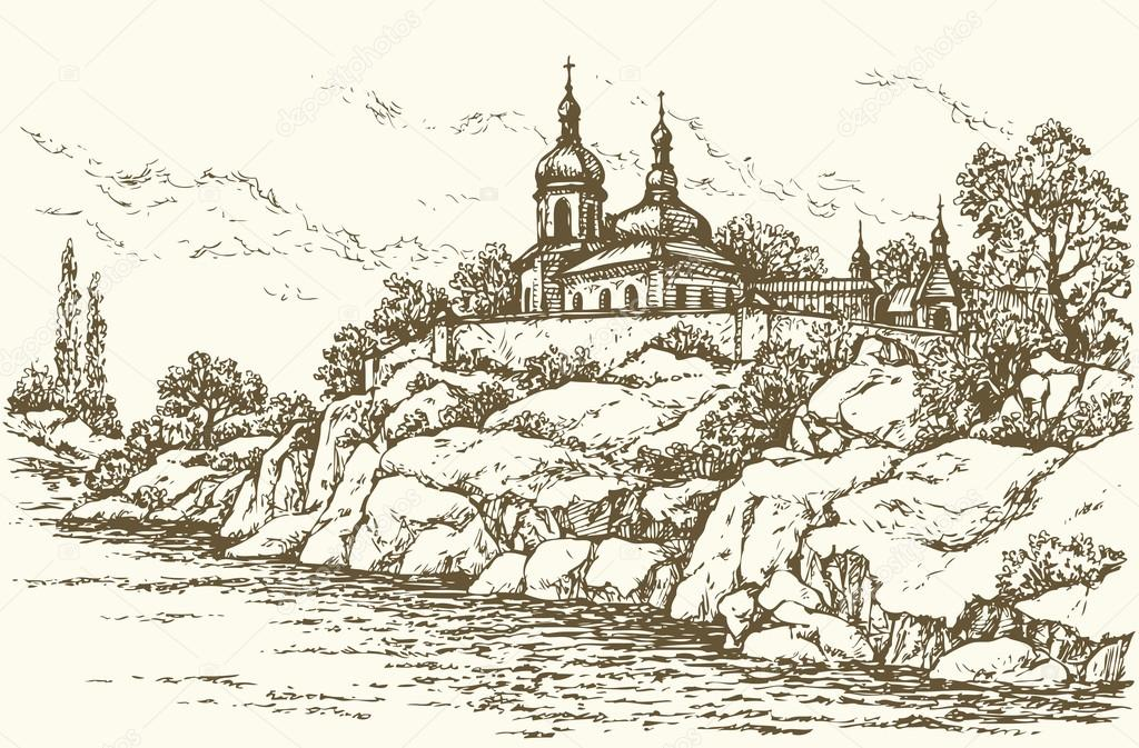 Monastery on the river. Vector drawing