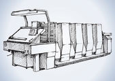 Fotografie Modern printing press.Vector sketch