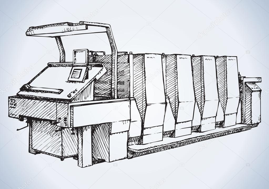 Modern printing press.Vector sketch