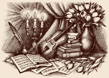 Vector sketch. Violin on old books