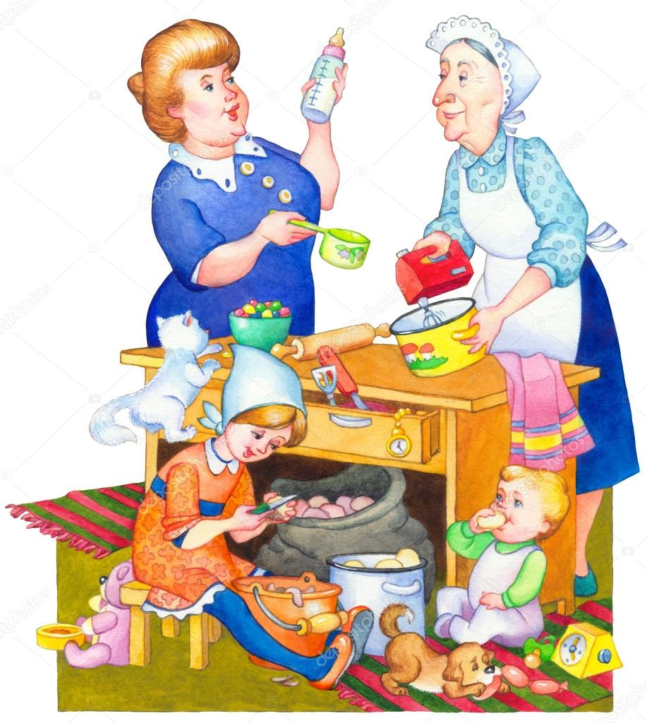 水彩イラスト食事を準備する台所で家族 ストック写真 Marinka