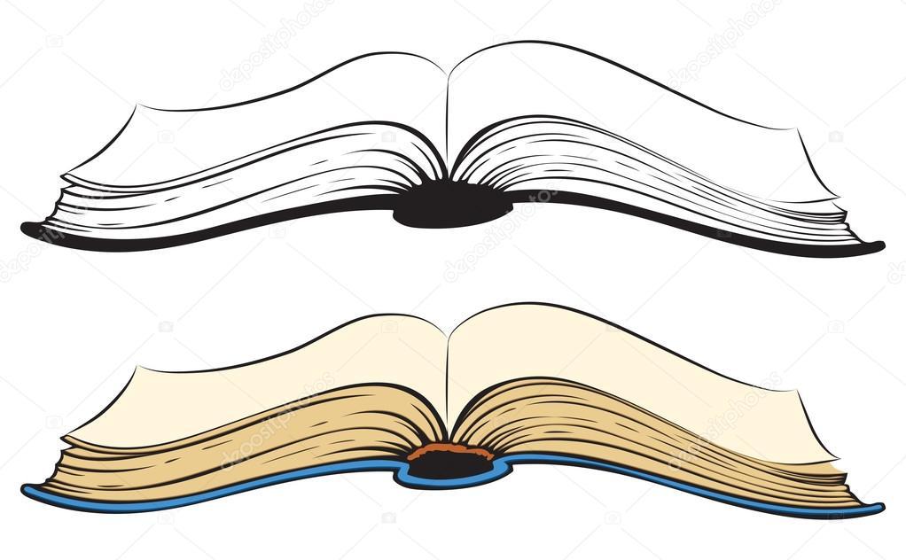 Aufgeschlagenes buch gezeichnet  Buch. Vektor-Skizze — Stockvektor #68286355