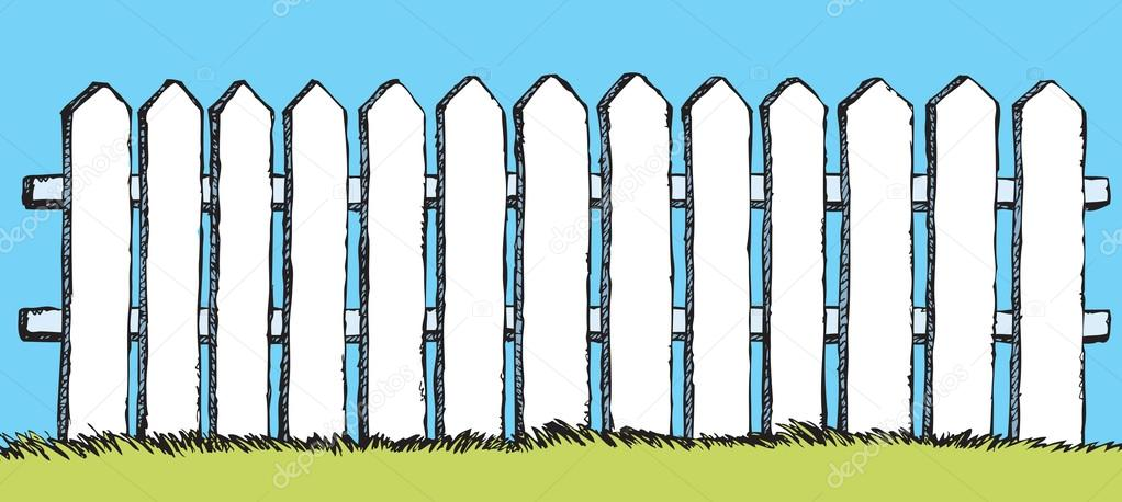 picket fence drawing. Funny White Wooden Fence From Flat Slats, Painted With Paint, Enclosing Garden Lush Grass. Vector Color Freehand Ink Drawn Backdrop Sketchy In Picket Drawing