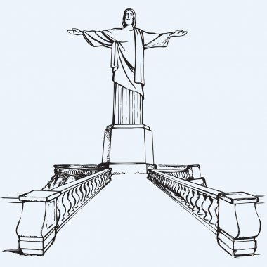 Front view of blessing Cristo Redentor, icon of Rio de Janeiro, standing on Corcovado Hill, Brasil. Freehand drawn background sketch in scribble antiquity style pen on paper with space for text on sky clip art vector