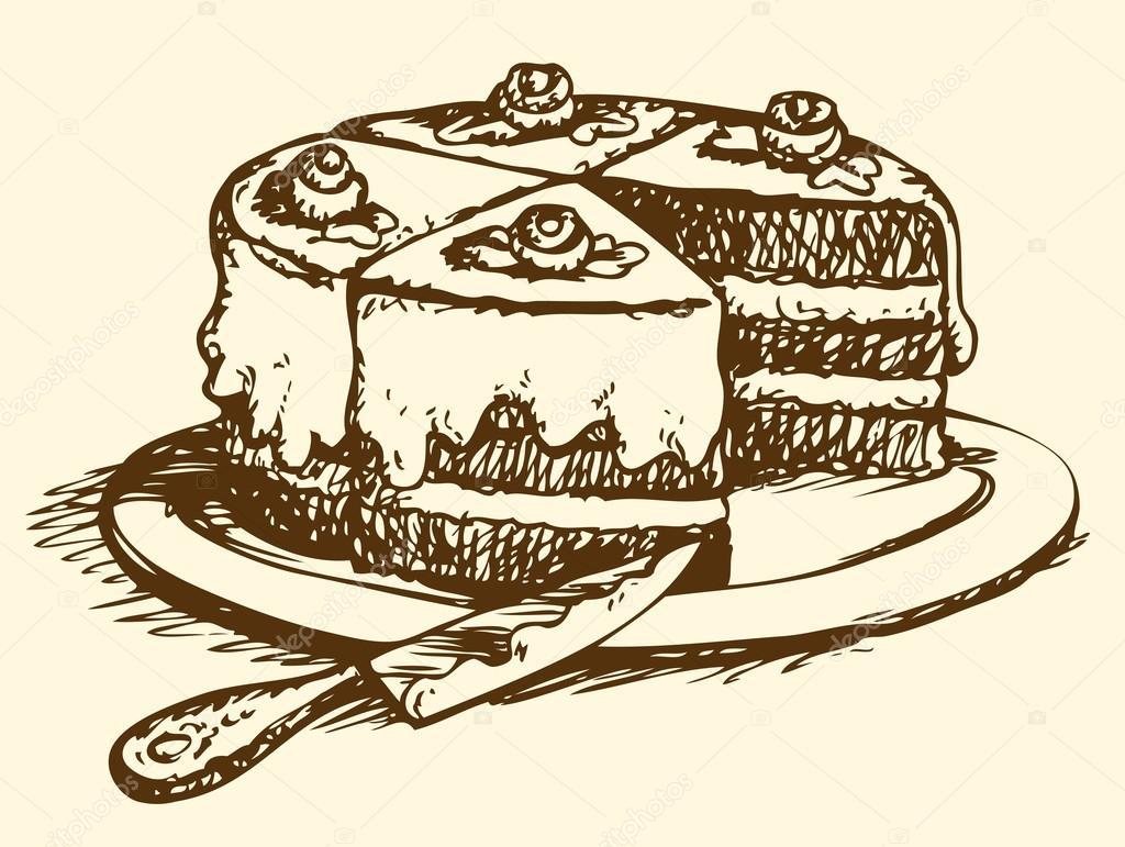 Sliced cake. Vector drawing — Stock Vector © Marinka #69335085 for Drawing Cake Slice  110zmd