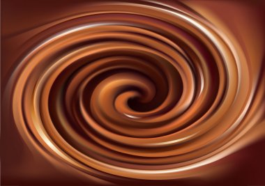 Vector background of swirling creamy chocolate texture