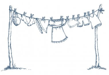 Wash clothing on clothesline. Vector drawing
