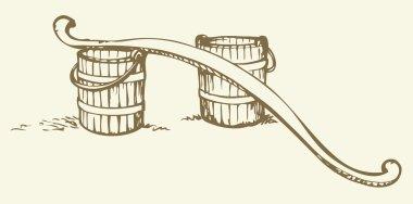 Rocker and buckets. Vector drawing