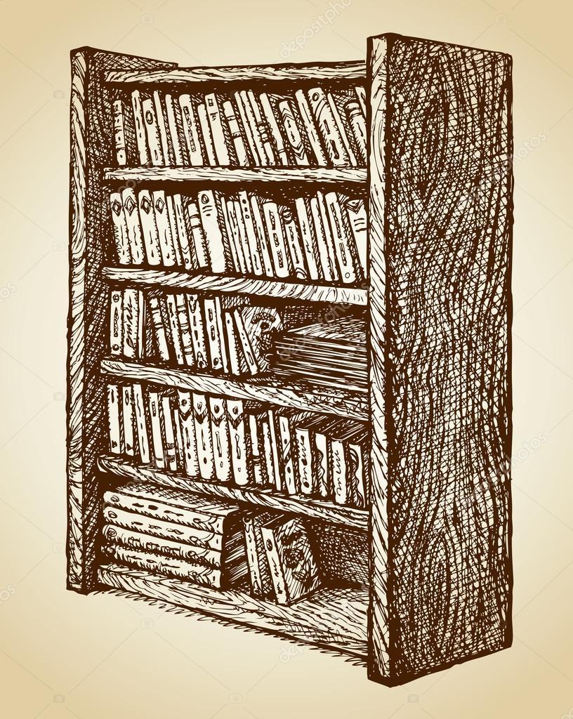 Boekenkast met diverse boeken. Vector tekening — Stockvector ...