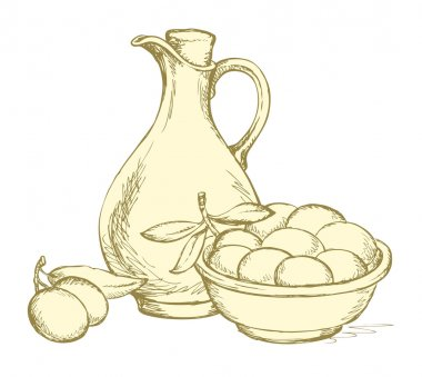 Vector drawing. Still life of oil in jug and olives sprigs