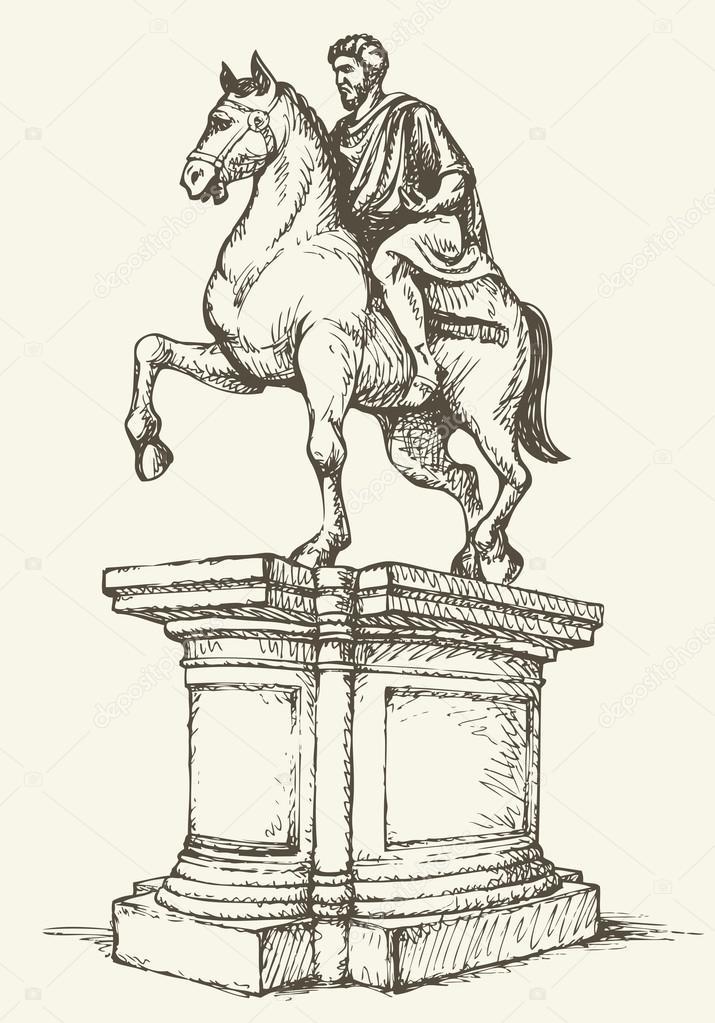 Statue of of Marcus Aurelius. Vector drawing — Stock