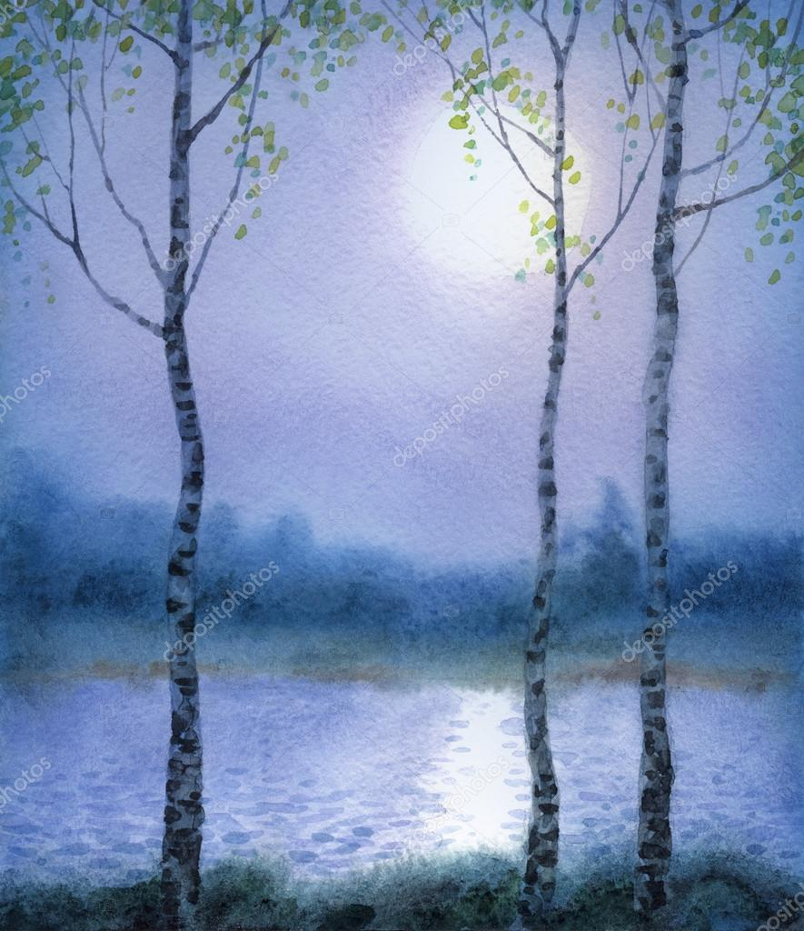Watercolor landscape. Spring birch trees near the river