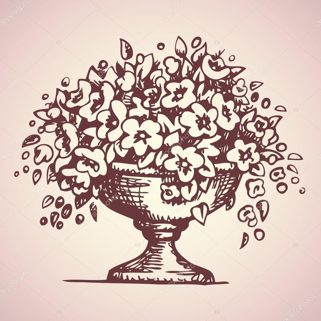 Florero de Parque de las flores. Dibujo vectorial — Vector de stock ...