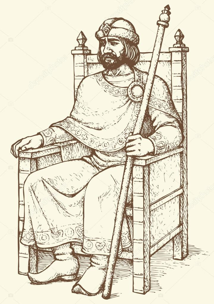 King on throne. Vector drawing
