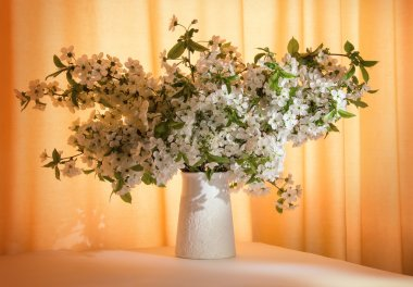 Bunch of flowering branches in vase