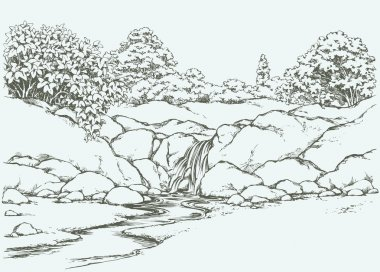Mountain stream. Vector drawing