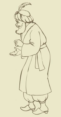 Old sage in national asian dress. Vector drawing