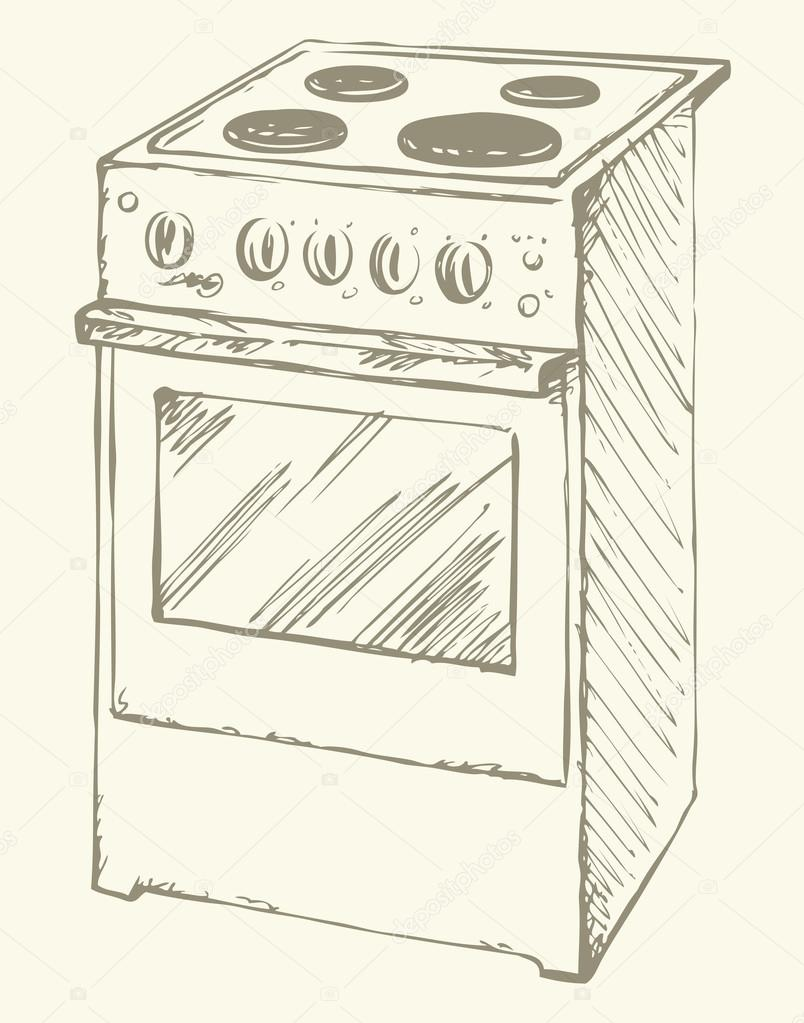 Electric Stove Vector Drawing Stock