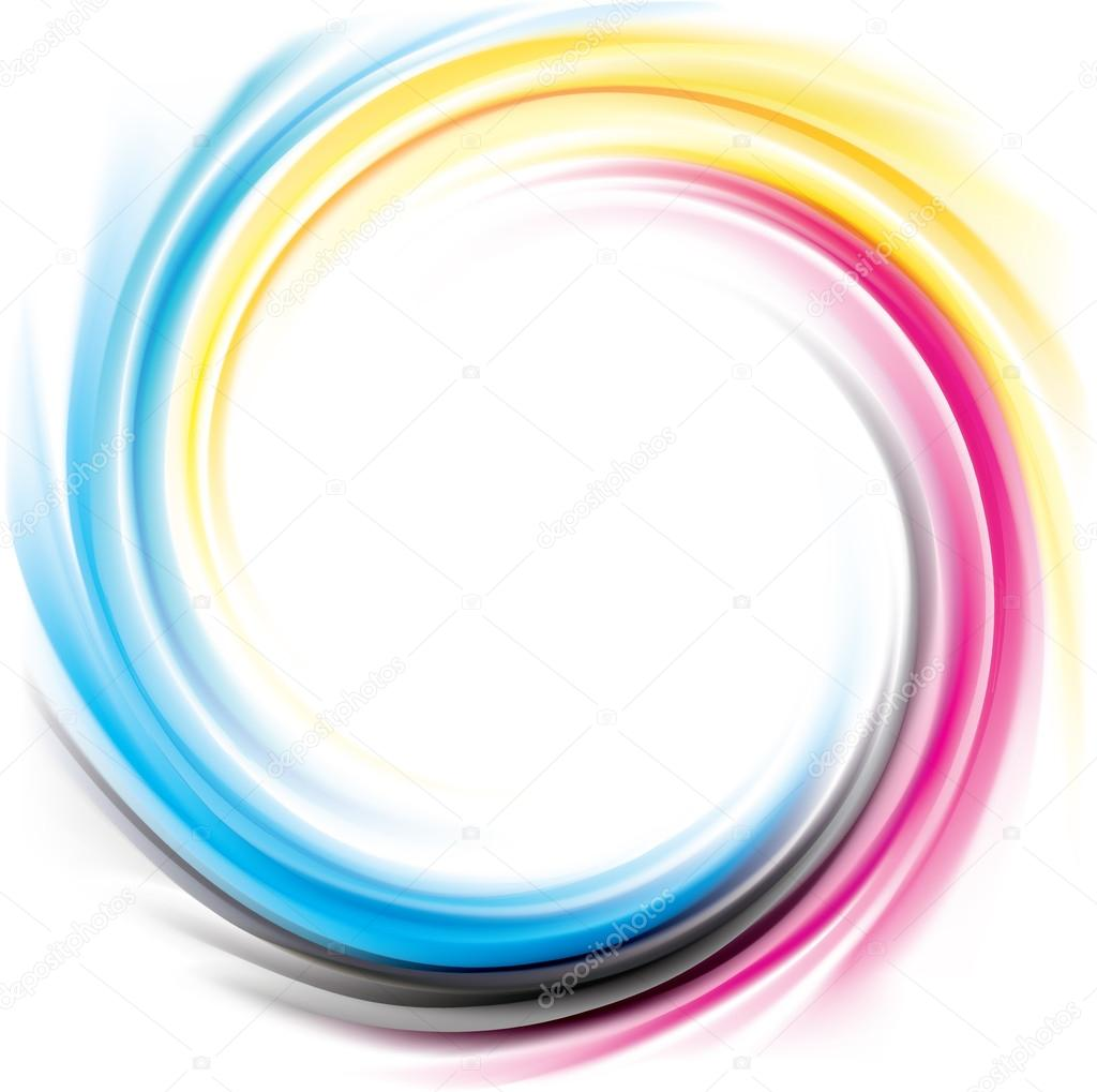 Vector Swirl Background Of Primary Colors Printing Process