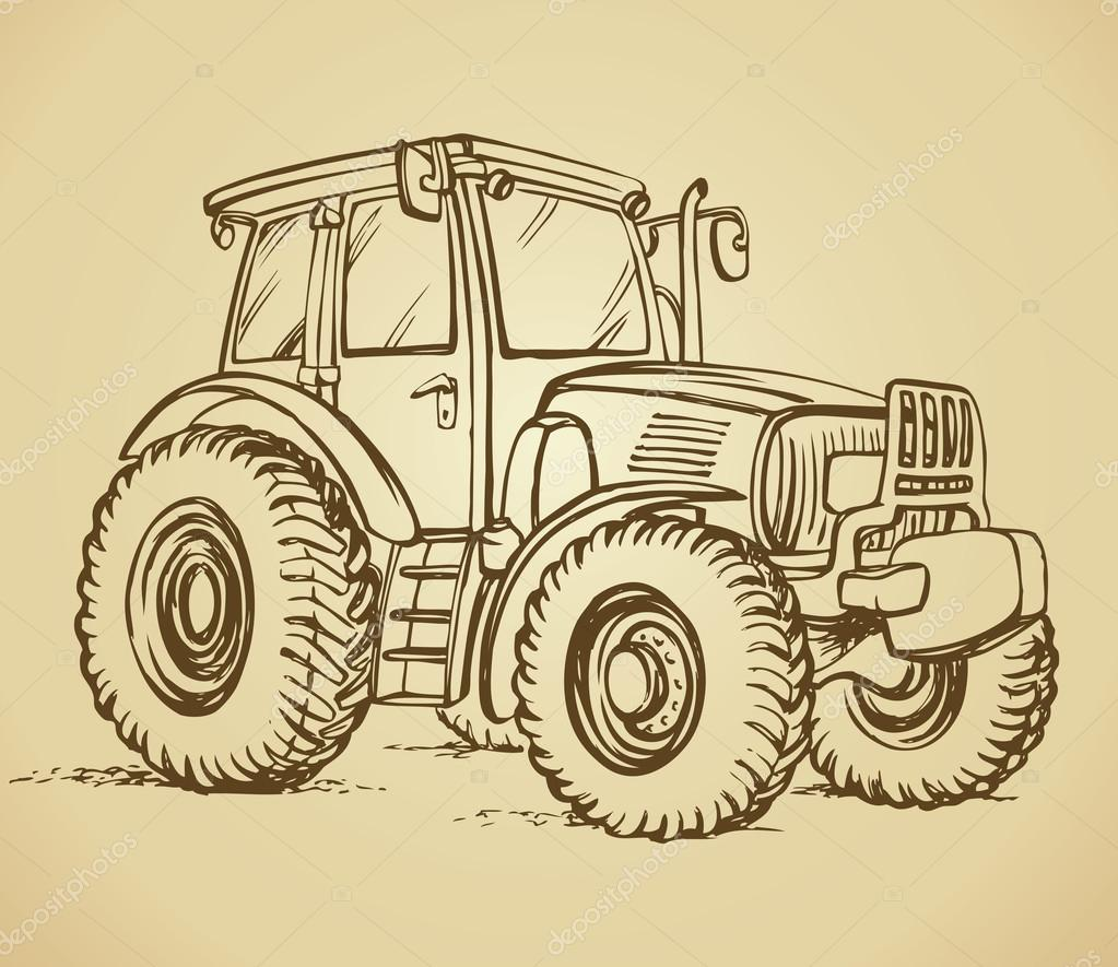 Tractor. Vector drawing