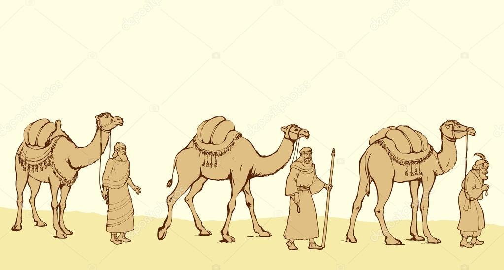 Three Wise kings following the Star of Bethlehem. Vector illustr