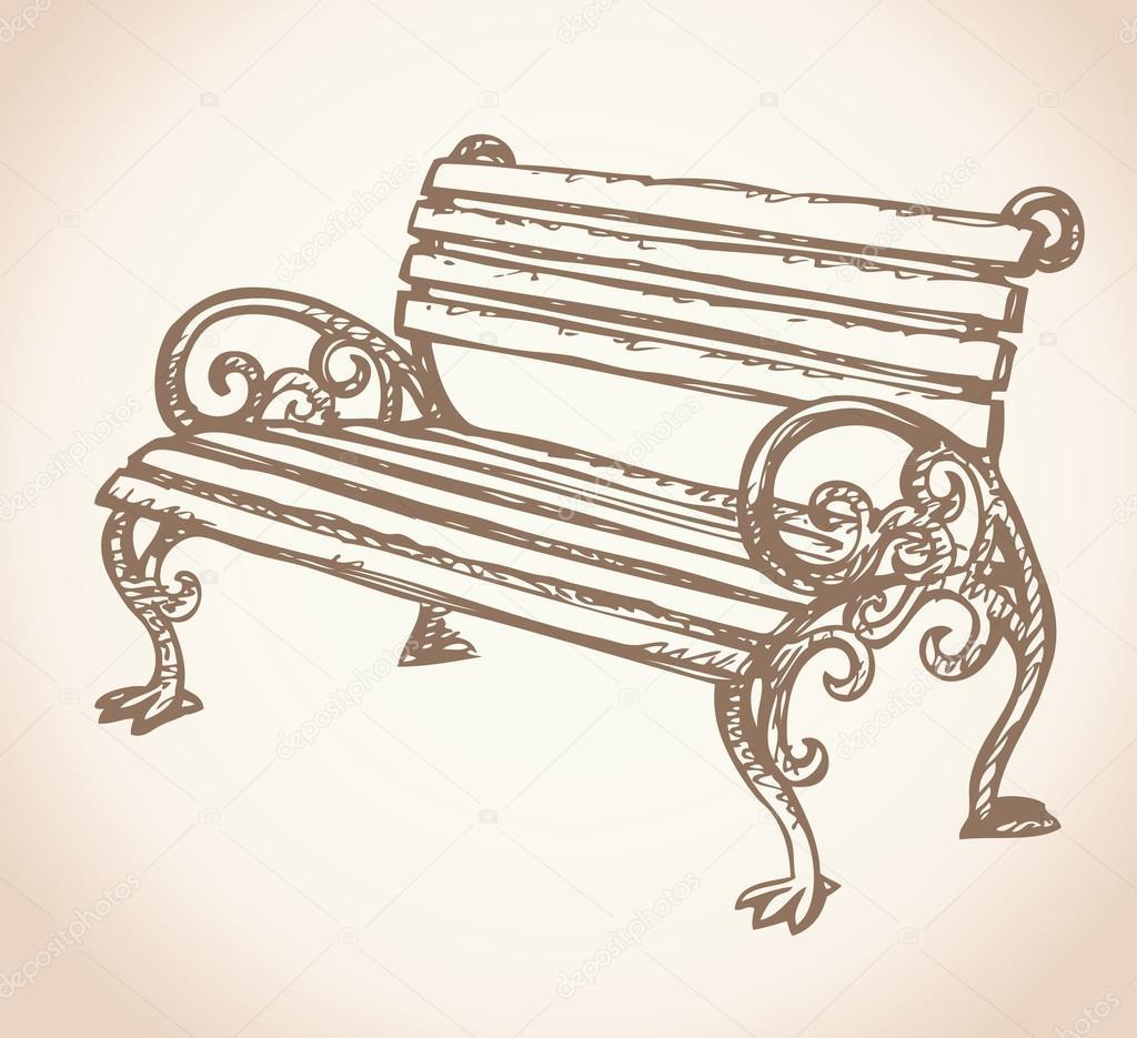 Banco de jardim desenho vetorial vetor de stock - Imagenes de bancos para sentarse ...