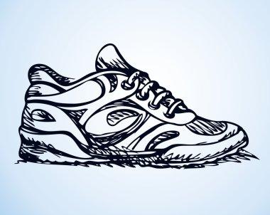 Trendy fancy sneakers. Vector sketch