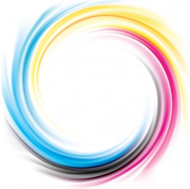 Vector swirl background of primary colors printing process: CMYK